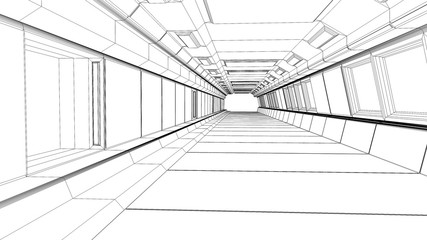 3d render. Futuristic interior corridor wireframe sketch