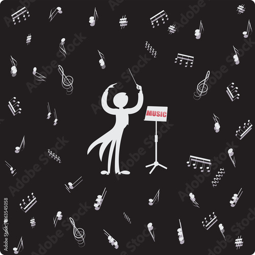 Conductor, music stand and sheet music  Vector image  Composition
