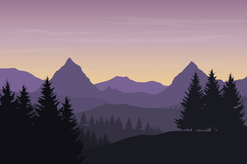 Realistic vector illustration of mountain landscape with forest under blue morning sky with clouds, with space for text