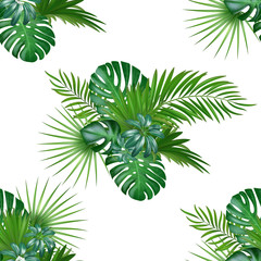 Tropical background with jungle plants. Seamless vector tropical pattern with green palm and exotic plants leaves.