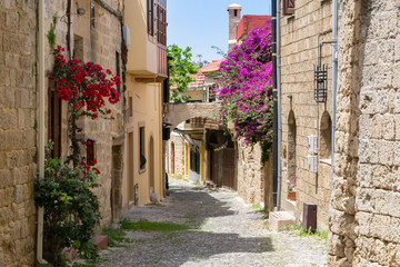 Street in the old town of Rhodes, Greece