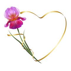 Изысканные цветы, фиолетовые ирисы. Символ дружбы и верности. Романтичная рамка.