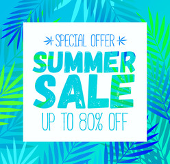 Summer Sale template poster, vector illustration. Banner design. Vector summer background poster with palm leaf design for print or web.