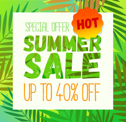 Promotion summer sale banner template. Banner design. Vector summer background poster with palm leaf design for print or web.