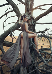 Wild princess on the background of a dry tree. The girl in a luxurious dress with ethnic motives. Creative colors