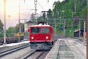 Electric locomotive on Filisur station.