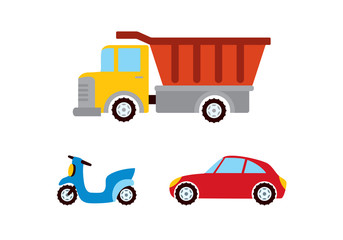 Toy car vector. Different means of transport. Cartoon car images for kids