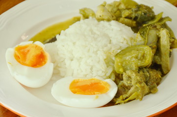 spicy chicken green curry with boiled egg on rice