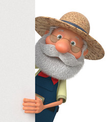 3D illustration funny farmer poster