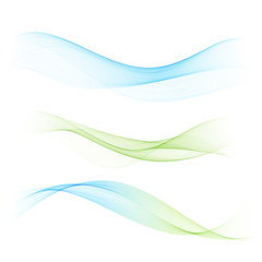 Abstract blue and green waves set