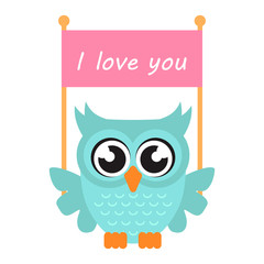 cartoon owl with poster