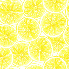 Seamless pattern made of watercolor lemon slices.Element for design.