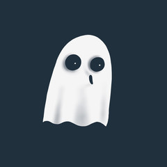 illustration of cartoon fun ghost on white background