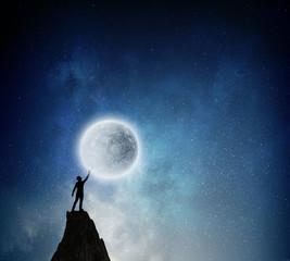 Reaching the moon. Mixed media