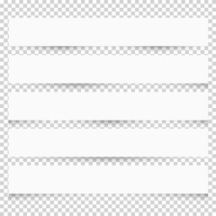 Collection of white blank note papers with different shadows