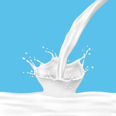 Milk splash with pouring milk on blue background