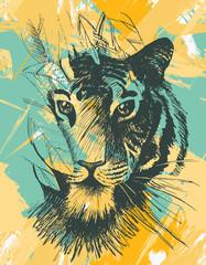 Grunge wild tiger