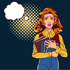 The girl is afraid pop art. Beautiful student on a dark street and keeps books. Vector illustration in comic style.