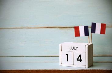 France. 14 th of July. Happy Bastille Day.Vintage tone