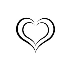 Heart black two isolated