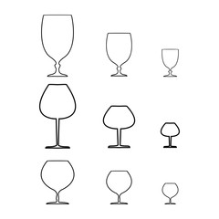 Wine qlass black set on white background