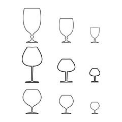 Wine qlass black set on white background