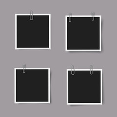 Set of realistic square photo frames with shadows