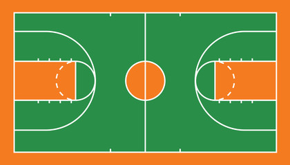 Vector of basketball court top view.