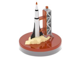 rocket launch pad 3D illustration