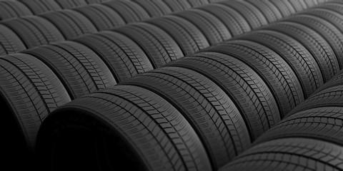 Car tires as background. 3d illustration