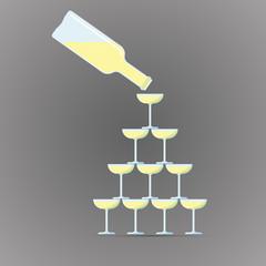 Векторная иллюстрация иконка простой символ плоский для веб champagne пирамида из бокалов шампанское