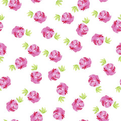 Seamless pattern with abstract pink rose flowers and green leaves on white background. Hand drawn watercolor illustration.