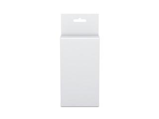 White Cardboard Box Mockup packaging with Hang Tab, 3d rendering
