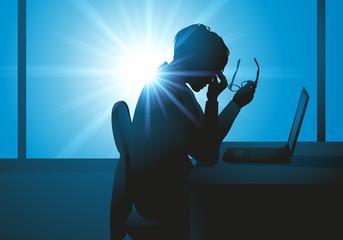 fatigue - burnout - femme - fatigue au travail - surmenage - migraine