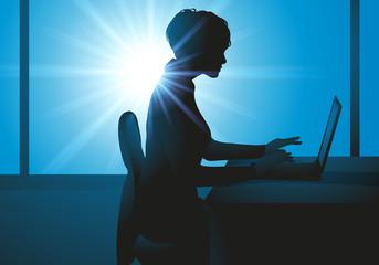 bureau - femme - entreprise - ordinateur - ordinateur portable - travailler - travail