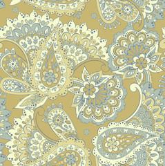 Floral seamless pattern with paisley ornament.