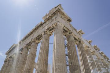 Parthenon Temple on the Athenian Acropolis, in Athens, Greece.