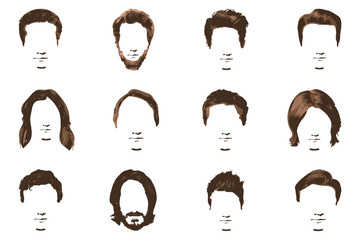Mustache and beard Set on white background. Hipster style of men's hairstyle.