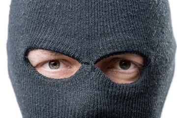 look criminal, mask on the face balaclava closeup