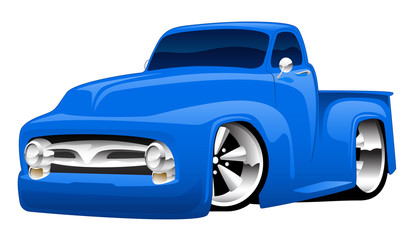 Classic American hot rod pick-up truck cartoon vector illustration