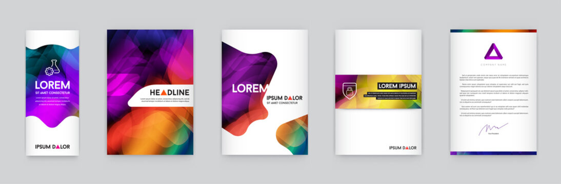Set of Visual identity with letter logo elements polygonal style Letterhead and mesh smooth design style brochure cover template mockups for business with Fictitious names