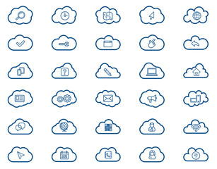 Cloud computing linear icons set. Download, upload, settings and preferences symbols. Lock, unlock and folder icons. Online data storage icons. Vector isolated outline drawings