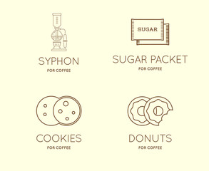 Set of Vector Coffee Accessories Icons with Letter Sign can be used as Logotype