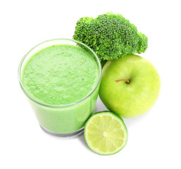 Green smoothie, broccoli and fruits on white background