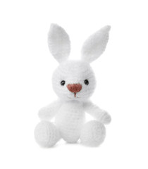 Little crochet bunny toy isolated on white
