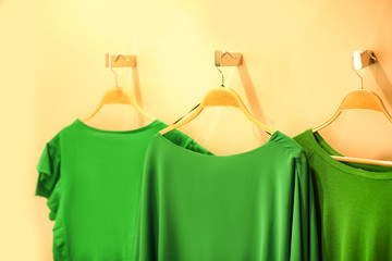Wall Mural - Green clothes on color background