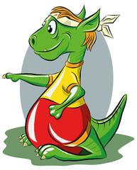 Веселый дракон занимается восточной гимнастикой, векторная иллюстрация.