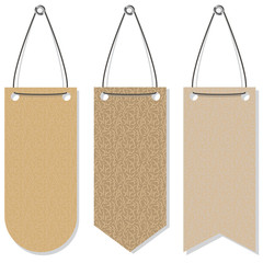 A set of brown banners simulating paper or cloth