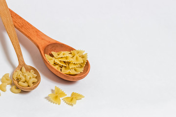 Pasta  on a white background.