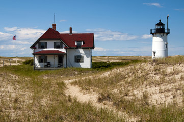 Keeper's house near Race Point light on a summer day in Provincetown, on Cape Cod.